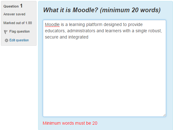 Moodle Essay Validation plugin